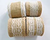 4 Pieces Natural Burlap Ribbons with White Laces for Wedding DIY Handmade Lace Linen [Size: 5cm(B)x200cm(L)]