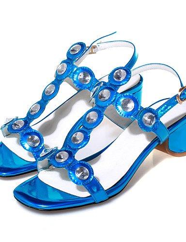 UWSZZ IL Sandali eleganti comfort Scarpe Donna-Sandali-Casual-Con cinghia / Toe ring-Quadrato-Pelle-Blu / Rosso / Argento Red