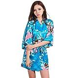 ALJL Schlafen Robe Nachahmung Seide Damen Satin Kimono Kurzen Bademantel Bequeme Pyjama Lose Bademantel Kleid Mode Licht Blau Bademantel,Light Blue,XL