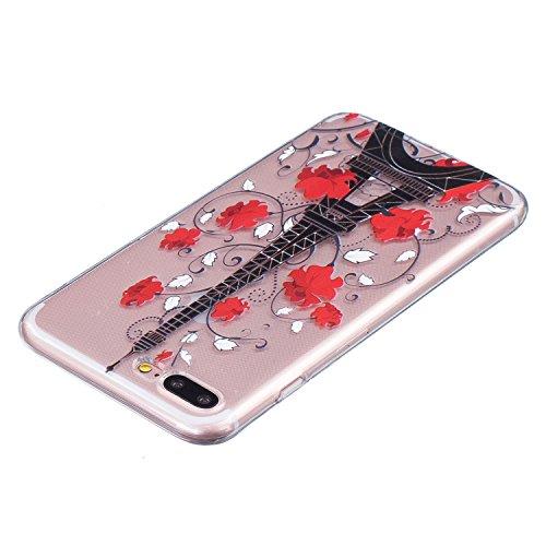 Coque iPhone 7 Plus,Coque iPhone 7S Plus, LuckyW Housse Etui TPU Silicone Clear Clair Transparente Gel Slim Case pour Apple iPhone 7/7s Plus(5,5 pouces) Soft de Protection Cas Bumper Cover Converture  Tour Eiffel