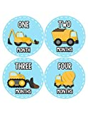 Months In Motion - Baby Month Stickers - Monthly Baby Sticker for Boys - Construction Trucks (1088)