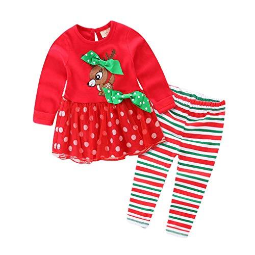 Kleinkind Mädchen Weihnachten Kleidung Baby Kind Halloween Kostüm Outfits Set Lange Ärmel Casual Elch Top+Gestreifte ()