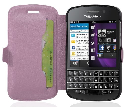 Cadorabo Hülle für BlackBerry Q10 - Hülle in ICY Rose – Handyhülle mit Standfunktion & Kartenfach im Ultra Slim Design - Case Cover Schutzhülle Etui Tasche Book