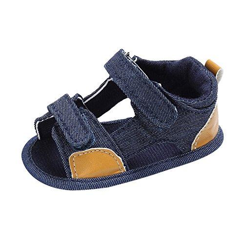 Topgrowth Bambini Tela Culla Morbida della Suola Hook and Loop Scarpe Neonato Sandali (6~12 Mesi, Blu)