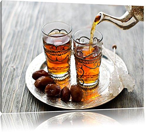 Pixxprint Arabischer Tee, Format: 60x40 auf Leinwand, XXL riesige Bilder fertig gerahmt mit Keilrahmen, Kunstdruck auf Wandbild mit Rahmen, günstiger als Gemälde oder Ölbild, kein Poster oder Plakat