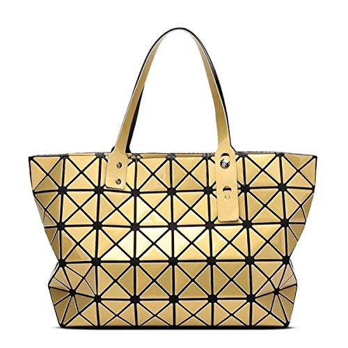 Strawberryer Sacs à bandoulière en cuir femmes Sacs à main géométriques Pliage en sac fourre-tout,Gold-43*28*10.6cm