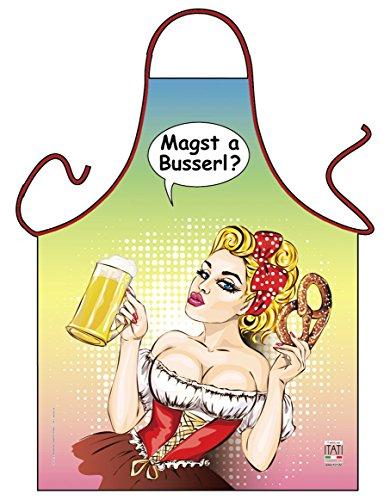 Lustige Comic Kochschürze mit GRATIS Urkunde: Magst a busserl?