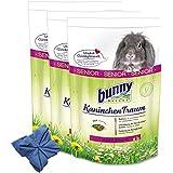 3 x 4 kg Bunny Kaninchen Traum Senior Futter für Zwergkaninchen + Microfasertuch