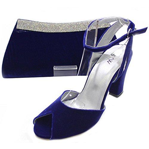 W & W femmes Mesdames Soirée Chaussures et sac assorti en velours confort Taille (Nisha & Zebi) Bleu roi