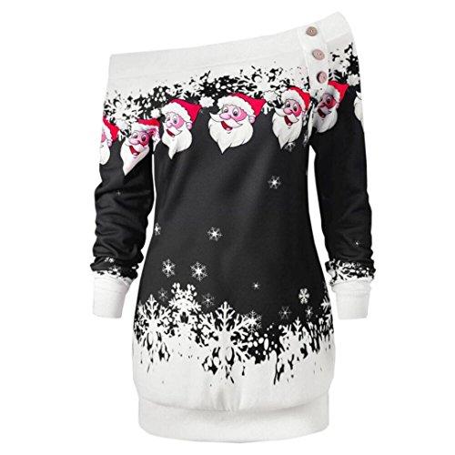 FORH Damen Elegant Weihnachten Santa Schneeflocken Drucken Kleid Reizvolle Asymmetric trägerlosen Schulter langarm MiniKleid Winter Festlich PartyKleid Abendkleid Locker Kleid (Schwarz, XXL) (Pinguin-kurzarm-pullover)
