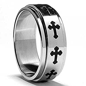 Stainless Steel Cross Spinner Ring Size Z+1