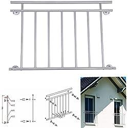 Paneltech 100/128 x 90 cm Français en Acier Inoxydable Barrière Extension Durable Balustrade de Balcon Couloir / Fenêtre Clôture Vitre de Balustrade pour Rampe d'escalier