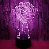 Wallfia Quatre amour Illusion 3D LED 7 couleur tactile tactile réglable, lumière de nuit câble/batterie USB, cadeau d'anniversaire/nouvel an/Noël