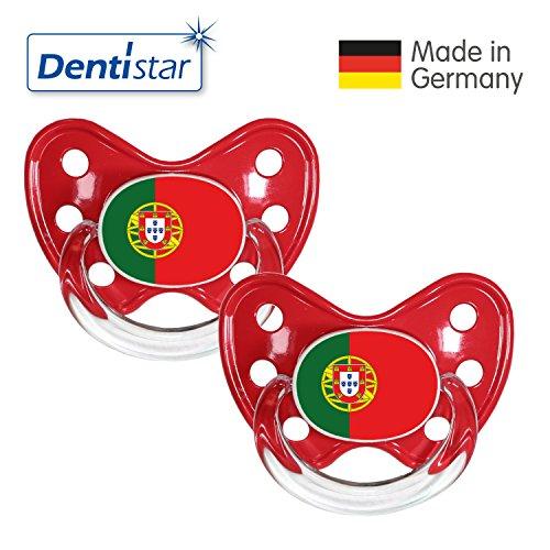 Dentistar® Silikon Schnuller 2er Set inkl. 2 Schutzkappen - Nuckel Größe 3, ab 14 Monate - Fahnen Kollektion | Portugal