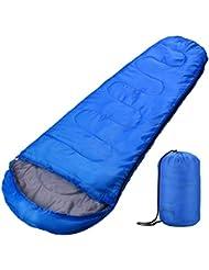 Sacco a Pelo OMorc Sleeping Bag Leggero Compatto Impermeabile Mummia con Materiale Poliestere, per Sport Campeggio Escursioni, Blu