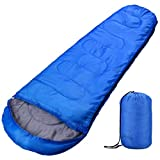 OMORC Sacco a Pelo Sleeping Bag Leggero Compatto Impermeabile Mummia con Materiale Poliestere, per Sport Campeggio Escursioni, Blu