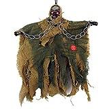 Mangotree Halloween Skelett Hänge Deko Hängedekoration Totenkopf Gruselige Befehl Stimme Grusel Sensenmann für KTV Bar Haunted House (1 Stück, Z# Gelblichgrün)
