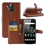 HualuBro OUKITEL K10 Hülle, Premium PU Leder Leather Wallet HandyHülle Tasche Schutzhülle Flip Case Cover mit Karten Slot für Oukitel K10 Smartphone (Braun)