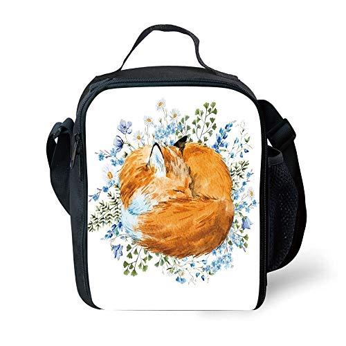 ZKHTO School Supplies Fox,Sleeping Fox in Watercolors Hand Drawn Fresh Wild Flowers Blossoms Artwork Decorative,Orange Blue Olive Green for Girls or Boys Washable