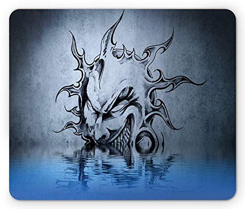 Tattoo Mouse Pad, Sun with Poker Sinister Face Character Fictional Evil Reflection on The Water World, Standard Size Rectangle Non-Slip Rubber Mousepad, Blue Grey
