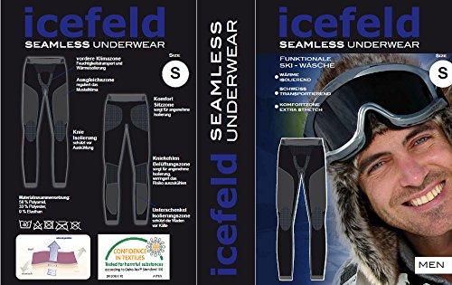 icefeld®: Sport-/ Ski-Thermo-Unterwäsche-Set für Herren seamless (nahtfrei) in schwarz/grau M - 3