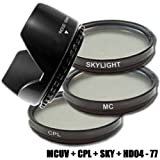 DynaSun Kit Pro 77mm CPL Zirkular Pol mit MC UV Multicoated Filter, Skylight und Gegenlichtblende