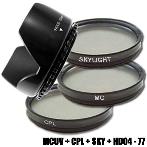 DynaSun Kit Pro 77mm CPL Zirkular Pol mit MC UV Multicoated Filter, Skylight und Gegenlichtblende Screen Filter Kit