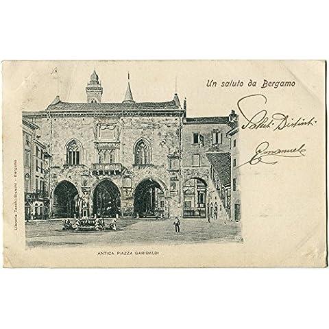 Primi anni 1900 Bergamo - Vista dell'Antica Piazza Garibaldi - FP B/N VG ANIM Cartolina Postale - Antichi Da Collezione Delle Fotografie