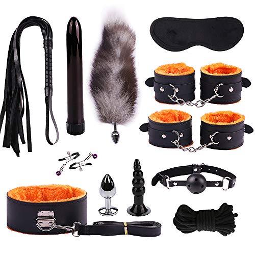ODJDBDK Sex Toyset Peitschen Bondage Set Sex Fesseln 12 Stück SM Sexspielzeug Für Paare,Extrem Spielzeug Se,Orange