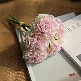 LYFWL Blumenstrauß Aus Künstlichen Blumen Pfingstrose Pflanzen Hauptdekoration Kunstblumen Brautsträuße 26Cm, Rosa, Grün