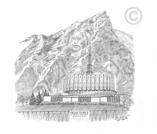LDS Provo Utah Temple - Chad Hawkins Temple Sketch - 11x14 Print by Chad Hawkins Art (Lds Temple Provo Utah)