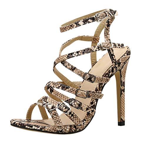 Zapatos De Punta Abierta De Piel para Mujer, Sandalias De Tacón De Aguja De Corte Cruzado con Estampado...