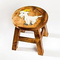 Robuster Kinderhocker/Kinderstuhl massiv aus Holz mit Tiermotiv Ziege, 25 cm Sitzhöhe preisvergleich bei kinderzimmerdekopreise.eu