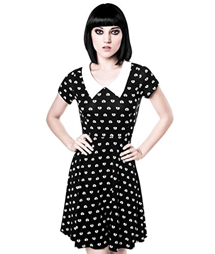 Killstar Damen Skater Mini Kleid Herz - Holly Heartbreaker Mini Dress mit Bubikragen Schwarz