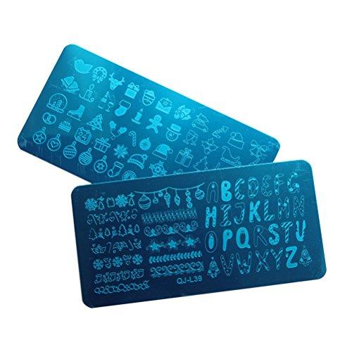 Frcolor 2 Pcs Nail Emboutissage Plaques Manucure Designs Estampage Plaque De Noël Nail Estampage Kits (QJ-L39 + QJ-L40)