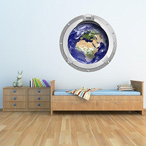 X-large Planeten Erde (Planet Erde Bullauge Wandaufkleber 3D Platz Guppy Fische Kinder Dekor Erhältlich in 8 Größen X-Groß Digital)