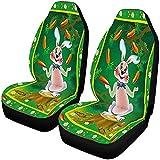 Coniglio Carotaggio Carote Cartoon Coprisedili per auto Sedili anteriori Solo set completo di 2, protezione completa del sedile, cuscino del sedile anteriore per animali domestici
