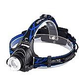 Felcia Kopf Taschenlampe LED, 2000Lumen Zoomable LED Stirnlampe, 4Modi Wiederaufladbare LED-Scheinwerfer Taschenlampe, wasserdicht verstellbar LED Scheinwerfer, perfekt für Laufen, Walking (der Hund), Camping, Lesen