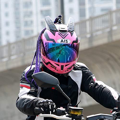 Motorradhelm Flip Helm mit interner Sonnenblende Doppelscheibe Modular Motocross Integralhelm Pink 4 XL
