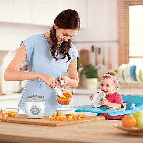 SUMGOTT Babynahrungszubereiter - 4 in 1 Babynahrung Dampfgarer und Mixer mit Dämpfen, Mixen, Auftauen und Heizung Multifunktionen Küchenmaschine - 6
