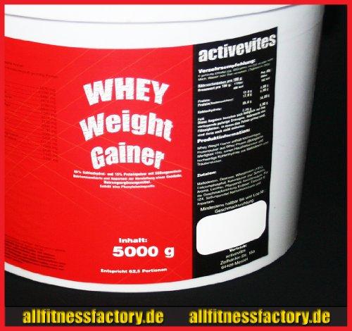 Whey Weight GAINER 5kg Eiweiß Masseaufbau Vanille Mass Gainer