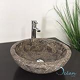 Vasque à poser ronde en marbre Gris - Lizéa