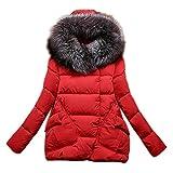 MIOIM Damen Winterjacke mit Fellkapuze Winterparka Warm Faux Pelz Parka Steppjacke Outdoor Jacken und Mäntel Rot M
