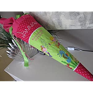 #63 Meerjungfrauen grün-pink Schultüte Stoff + Papprohling + als Kissen verwendbar