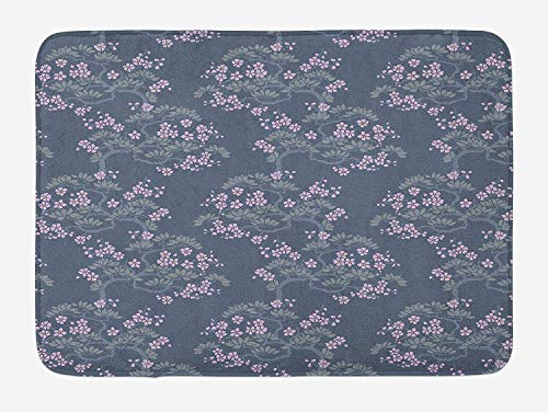 OQUYCZ Leaf Bath Mat, Abstract Artful Japanese Plum Blossoms Asian Nature Garden Flora Theme, Plush Bathroom Decor Mat with Non Slip Backing, 23.6 W X 15.7 W Inches, Bluegrey Pale Pink Sage Plum-zebra