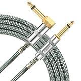 AIHIKO Gitarre Jack Lead 10Ft / 3m 6,35 mm Bass AMP 1/4 gerade rechtwinklig Kabel mit Gold Plugs für Mandolin elektrische Instrumententastatur, grün/weiß Tweed