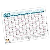 itenga XXL Premium Jahresplaner 2019 Wandkalender DIN A0 (118,9x84,1cm) 250g/m² gerollt stabil blau