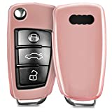kwmobile Funda para Llave Plegable de 3 Botones para Coche Audi - Protector de TPU para Llave de Auto en Rosa Oro Brillante - Cover para Llave de Coche de Contacto