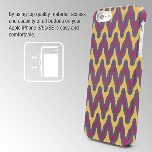 Urcover® Colorful Edition Hülle | Apple iPhone SE / 5 / 5s 4 Zoll | Kunststoff Stars Design | Trendy Zubehör Tasche Back-Case Handy-Cover Schutz-Hülle Schale Abstract Gelb/Rot