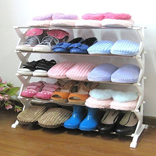 Easy Foldeble New Fancy New Stainless Steel Shoe Rack (5 Layer) Fancy / Durable With Aluminium Rod & Plastic Base / Best Home&Office Multiutility Product